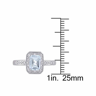 Womens Diamond Accent Genuine Blue Aquamarine Sterling Silver Cocktail Ring
