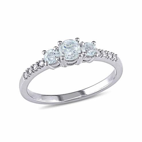 Womens Diamond Accent Genuine Blue Aquamarine 10K Gold Cocktail Ring