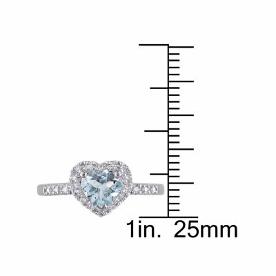 Womens 1/10 CT. T.W. Genuine Blue Aquamarine Sterling Silver Cocktail Ring