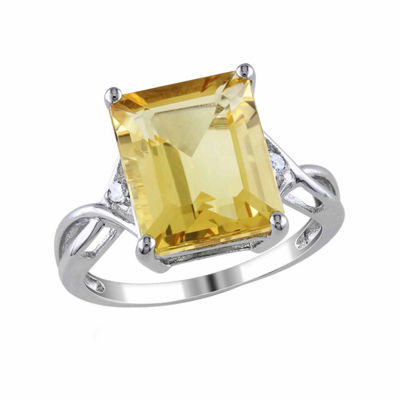 Womens Genuine Yellow Citrine Sterling Silver Cocktail Ring