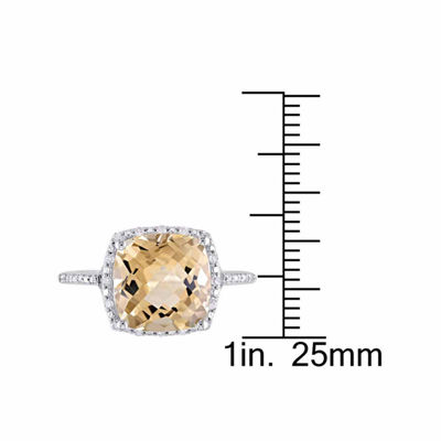 Womens 1/10 CT. T.W. Yellow Citrine Sterling Silver Cocktail Ring