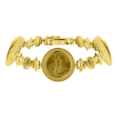 Womens 22K Gold 1/10 Oz Eagle Coin 14K Gold Link Bracelet