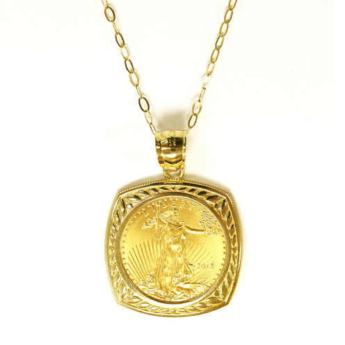 Womens 22K Gold 1/10 Oz Eagle Coin 14K Gold Pendant Necklace