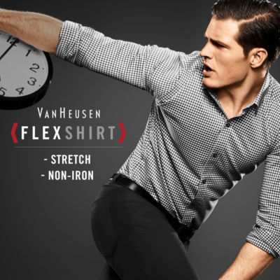 Van Heusen Long Sleeve Flex Slim Fit Non Iron Stretch Button-Front Shirt