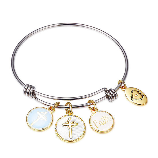 Footnotes Carded Stainless Steel 8 1/4 Inch Solid Cross Bangle Bracelet