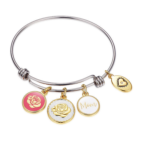Footnotes Mom Silver Over Brass Stainless Steel 8 1/4 Inch Solid Flower Bangle Bracelet