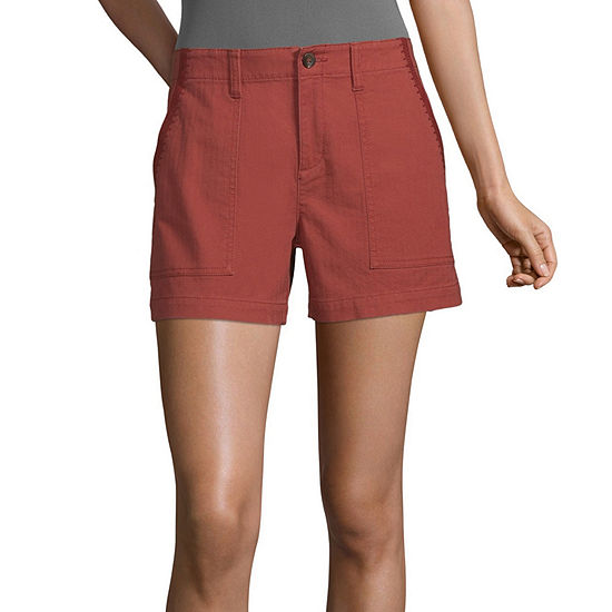 a.n.a-Tall Womens High Rise Embroidered Utility Short