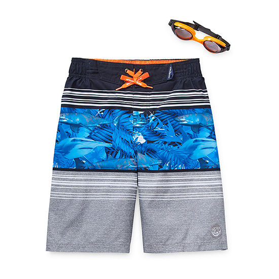Zeroxposur-Big Kid Boys Swim Trunks & Goggles Set