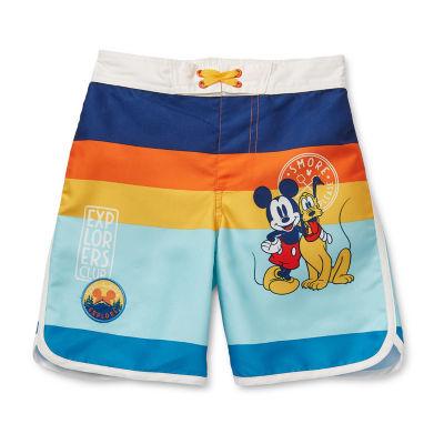 Disney Collection Little & Big Boys Mickey Mouse Swim Trunks