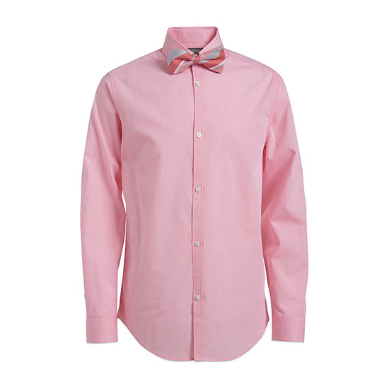 Van Heusen Flex Big Boys Point Collar Long Sleeve Shirt + Tie Set