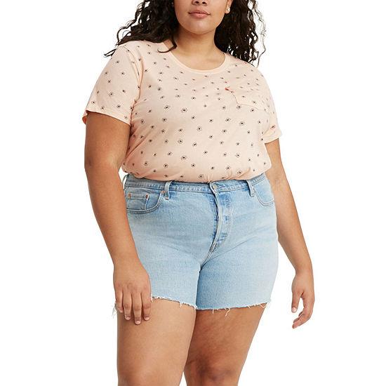 Levi's Perfect Pocket Womens Plus Crew Neck Short Sleeve T-Shirt