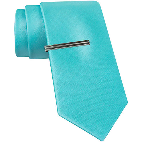 JF J. Ferrar® Solid Glitter Tie and Tie Bar Set - Slim