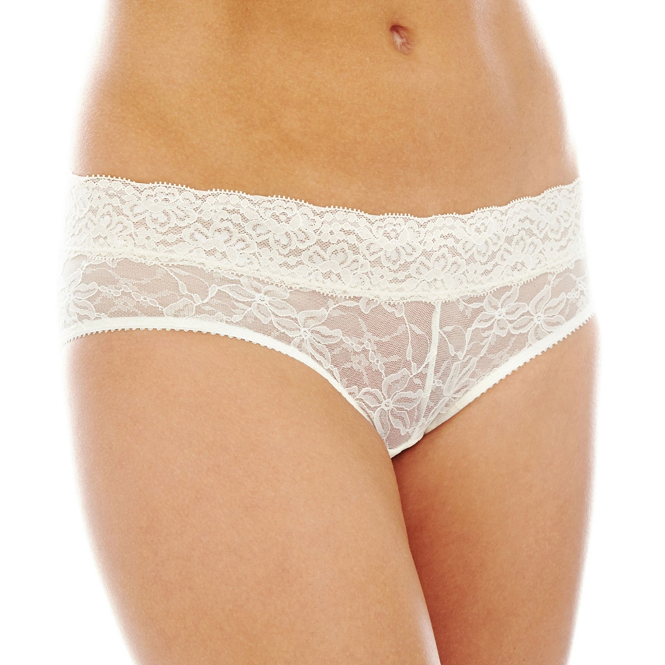 THE BODY Elle Macpherson Intimates Stretch Lace Hipster Panties, Pristine