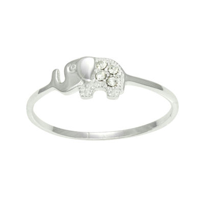 itsy bitsy sterling silver clear crystal elephant ring
