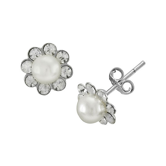 itsy bitsy™ Simulated Pearl and Crystal Sterling Silver Flower Stud Earrings