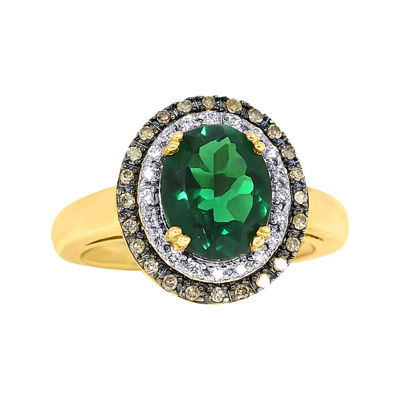 Lab-Created Emerald and Diamond Oval Ring