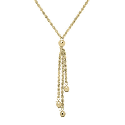 Infinite Gold™ 14K Yellow Gold Bead Station Hollow Rope Chain Lariat Necklace