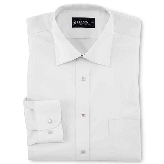Stafford Travel Easy-Care Broadcloth Mens Point Collar Long Sleeve Wrinkle Free Dress Shirt