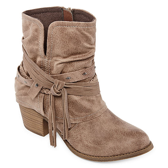 Pop Womens Berenice Block Heel Zip Booties