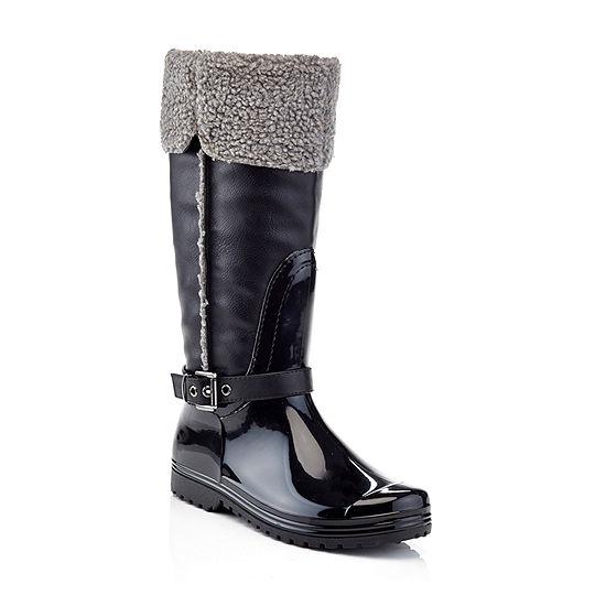 Henry Ferrera Womens Faux Shearling Rain Boots Water Resistant Flat Heel