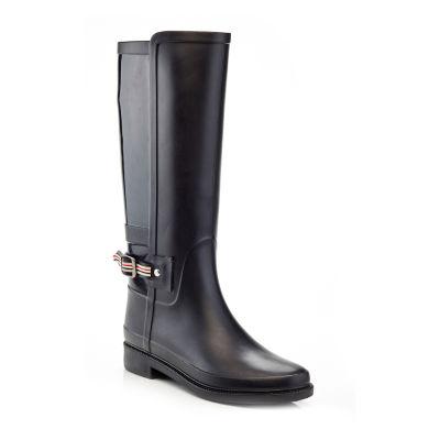 Henry Ferrera Womens England Tall Rain Boots Water Resistant Flat Heel Zip