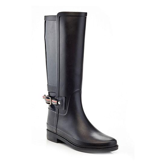 Henry Ferrera Womens England Tall Rain Boots Water Resistant Flat Heel