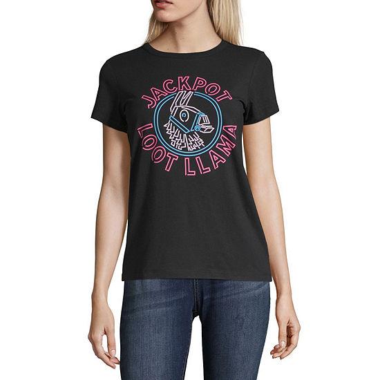 Mighty Fine Crew Neck Short Sleeve Graphic T-Shirt-Juniors