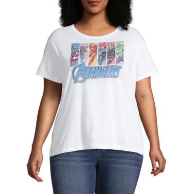 Womens Crew Neck Short Sleeve Avengers Graphic T-Shirt-Juniors Plus