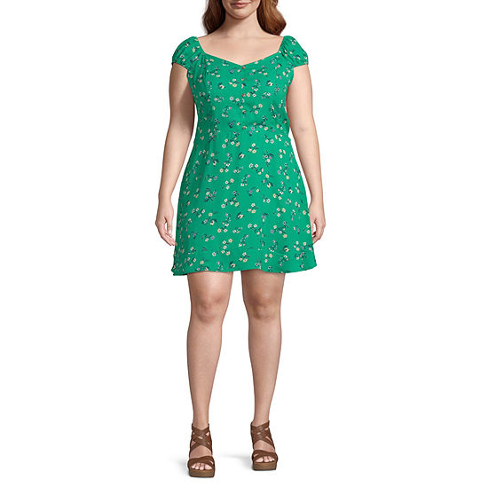 Arizona-Juniors Short Sleeve Floral Fit & Flare Dress