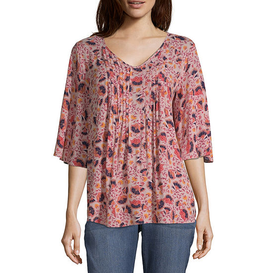 Liz Claiborne Pintuck V-Neck Blouse - Tall