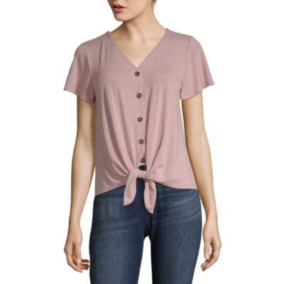 Pink Rose Womens Short Sleeve Button-Front Shirt-Juniors