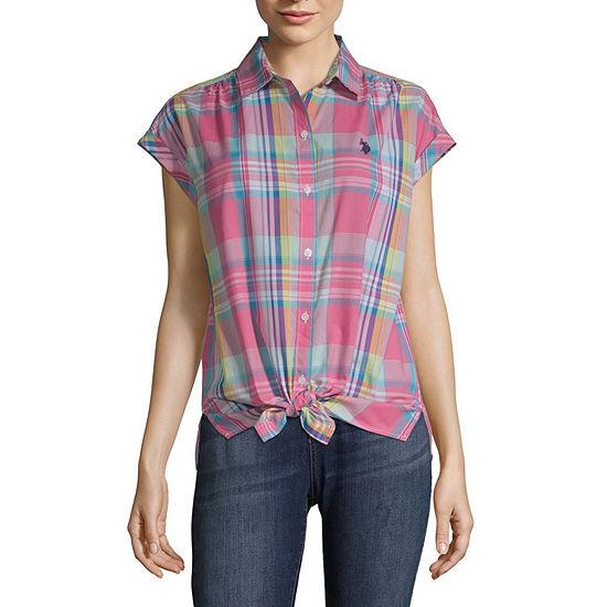 Us Polo Assn. Womens Short Sleeve Poplin Blouse-Juniors