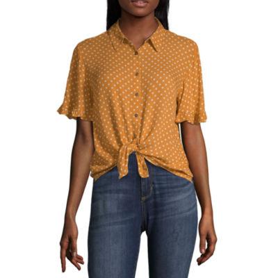 Rewind Womens Collar Neck Short Sleeve Camp Shirt-Juniors