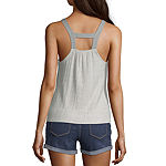 Self Esteem Not Applicable Womens Square Neck Sleeveless Lace Up Blouse-Juniors