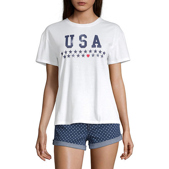 City Streets Womens Crew Neck Short Sleeve Graphic T-Shirt-Juniors