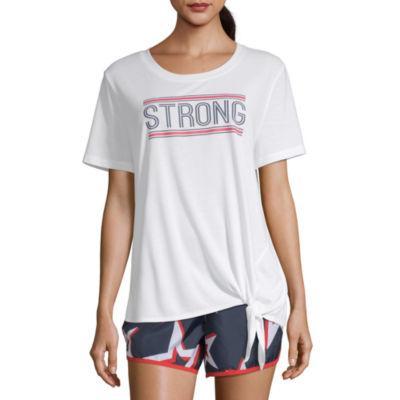 Xersion Womens Round Neck Short Sleeve Graphic T-Shirt