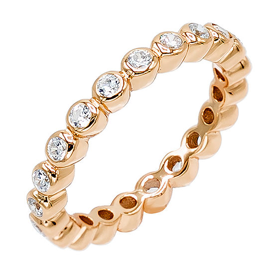 Diamonart Womens 3MM 1/2 CT. T.W. White Cubic Zirconia 14K Rose Gold Over Silver Eternity Band