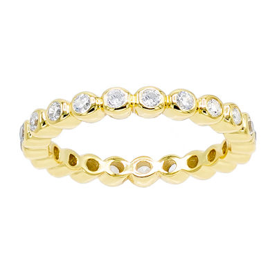 Diamonart Womens 3MM 1/2 CT. T.W. White Cubic Zirconia 14K Gold Over Silver Eternity Band