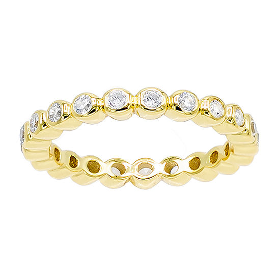 Diamonart 3MM 1/2 CT. T.W. White Cubic Zirconia 14K Gold Over Silver Eternity Band