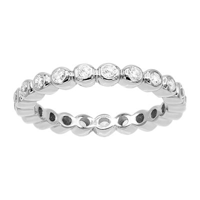 Diamonart Womens 3MM 1/2 CT. T.W. White Cubic Zirconia Sterling Silver Eternity Band