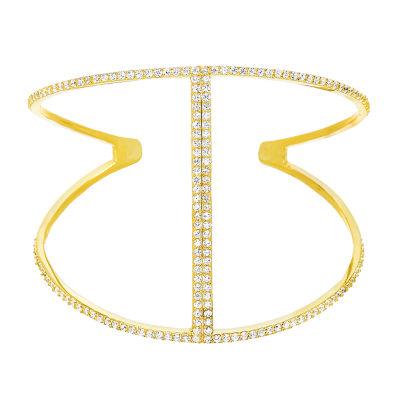 Diamonart Womens 4 3/4 CT. T.W. White Cubic Zirconia Cuff Bracelet