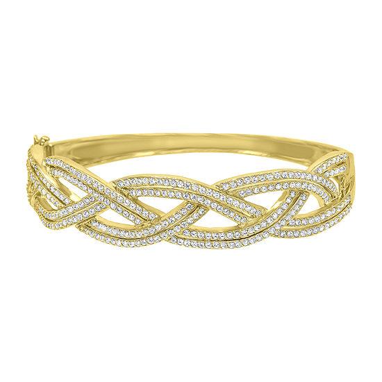 Diamonart 3 1/2 CT. T.W White Cubic Zirconia 14K Gold Over Silver Bangle Bracelet