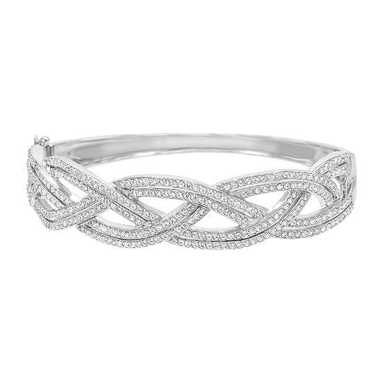 Diamonart 3 1/2 CT. T.W White Cubic Zirconia Sterling Silver Bangle Bracelet