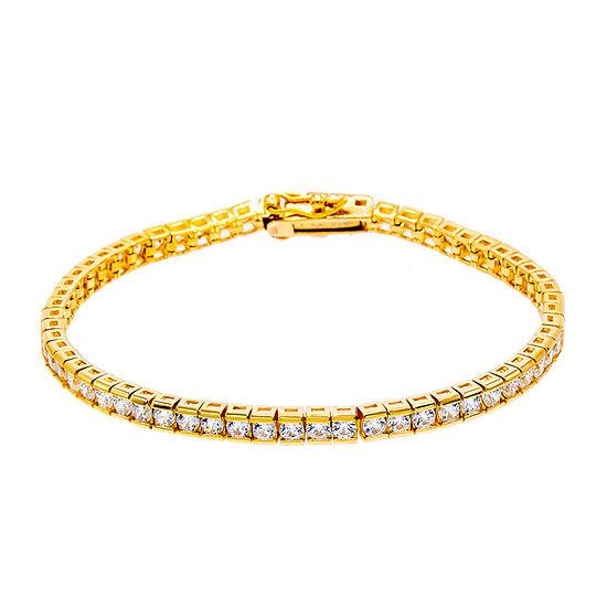 Diamonart 1 2 Ct Tw White Cubic Zirconia 14k Gold Over Silver Tennis Bracelet
