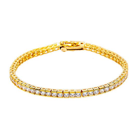 Diamonart 1/2 CT. T.W. White Cubic Zirconia 14K Gold Over Silver Tennis Bracelet