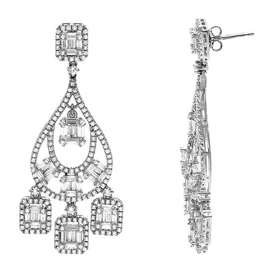 Diamonart White Cubic Zirconia Sterling Silver Chandelier Earrings