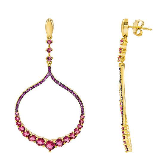Diamonart 4 CT. T.W. Pink Cubic Zirconia 14K Gold Over Silver Drop Earrings