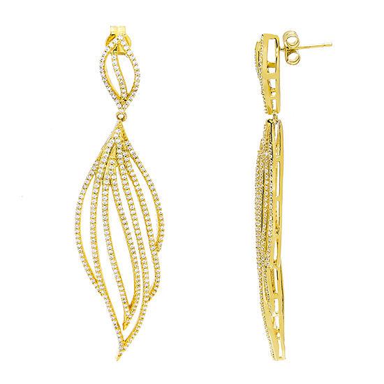 Diamonart 5 1/2 CT. T.W. White Cubic Zirconia 14K Gold Over Silver Drop Earrings