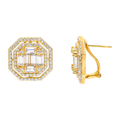 Diamonart 3 CT. T.W. White Cubic Zirconia 3/4 Inch Stud Earrings