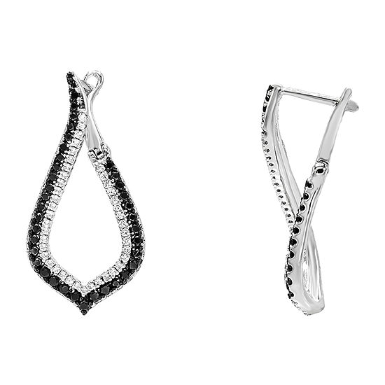 Diamonart 1 1/2 CT. T.W. Black Cubic Zirconia Sterling Silver 1 1/4 Inch Hoop Earrings